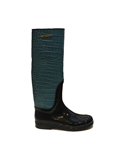 Dolce & Gabbana Italy Woman's Teal Blue Crocodile Leather Rubber Rainboots Boots