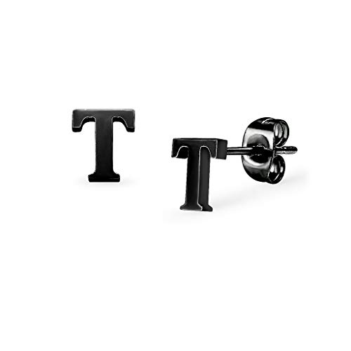 Alphabet Initial Letter Tiny Earring Studs Stainless Steel Black Tone Letters T ()