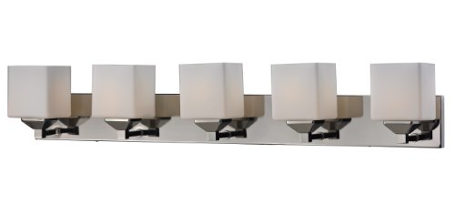 Matte Nickel Five Light (Z-Lite 2105-5V Quube Five Light Vanity Light, Steel Frame, Chrome/Matte Opal Finish and Matte Opal Shade of Glass)