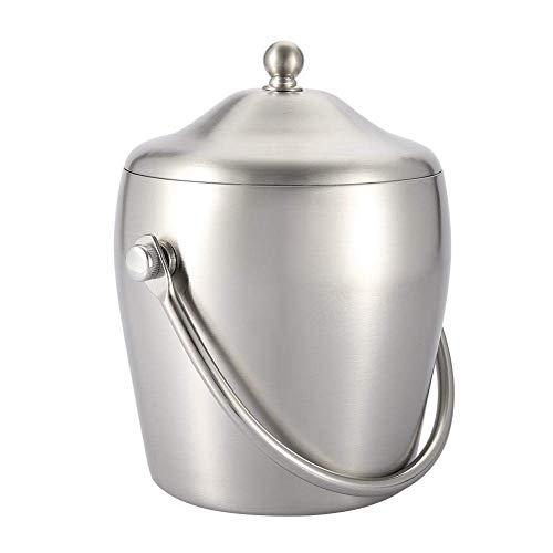 - ZSQHD 1L/2L Liter Insulated Stainless Steel Ice Bucket Ice Tongs (Color : B, Size : 20CM)