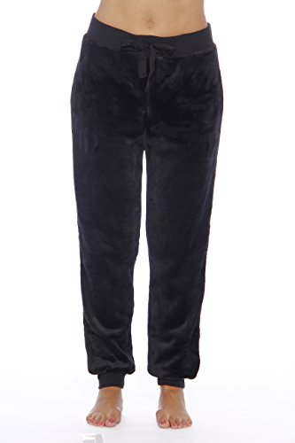 (Just Love Velour Pajama Pants Joggers for Women 6317-Black-M)