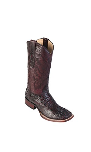 Men's Wide Square Toe Black Cherry Genuine Leather Caiman Horn Back Skin Western Boots -