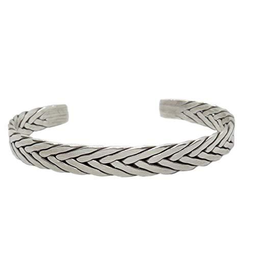 (Sterling Silver Braided Cuff Bracelet, Handmade Boho woven Silver Bangle for Women or Men)