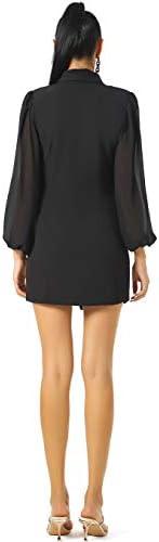 UNIQUE 21 Women Asymmetric Blazer Dress - Ladies Elegant Collar Mesh Long Sleeve Blazer Dresses