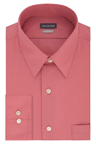 Van Heusen Men's Poplin Fitted Solid Point Collar Dress Shirt, Bright Pink, 17.5