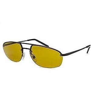 Yves Saint Laurent Men's 2315 Semimatte Black Frame/Yellow Lens Metal Sunglasses