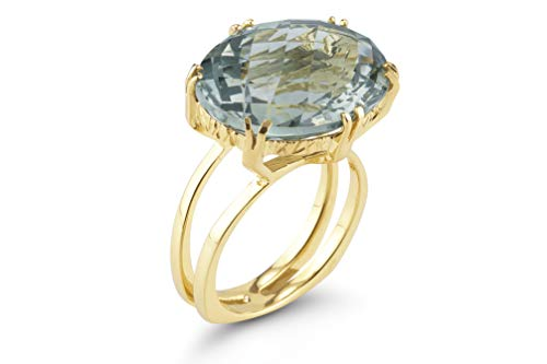 I REISS 14K Yellow Gold 4.75ct TGW Green Amethyst Ring