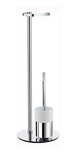Toilet Smedbo Outline Brush (Smedbo FK312P Toilet Roll Holder (Freestanding)/Toilet Brush with Porcelain Glass Container, Polished Chrome/White Porcelain)