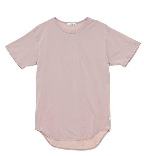 EPTM. Men's OG Short Sleeve Scallop Hem Long T Shirt-Dusty (Pink Scallop)