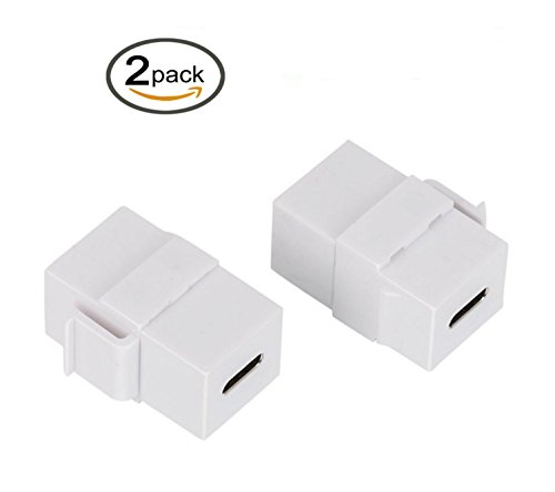 Poyiccot USB C Keystone Jack, (2-Pack) USB 3.1 Type-C Connector Keystone Insert Female to Female for Wall Plate Outlet Panel-White