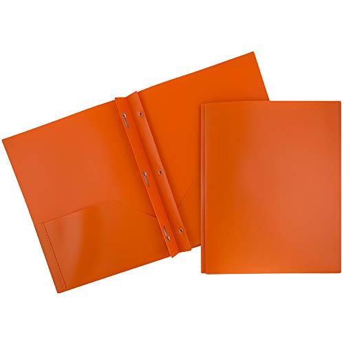 (JAM PAPER Plastic 2 Pocket School POP Folders with Metal Prongs Fastener Clasps - Orange - 6/pack)