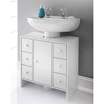 Enjoyable 6 Drawer Spaceways Undersink Cabinet White W60 X H60 X Interior Design Ideas Ghosoteloinfo