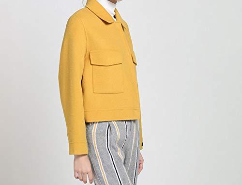 Jaune De Unie Court Clothing Veste Face En Femme Automne Couleur Hiver Longues Et À Manches Slim Manteau Double Laine TUwFTZ