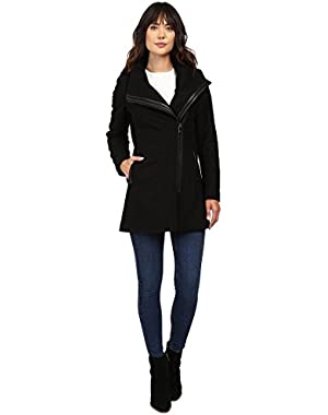 Women's Asymetrical PU Trim Hooded Wool with Quilted Liner