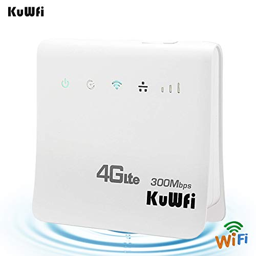 KuWFi 4G WiFi Router Unlocked 300Mbps 4G LTE CPE Mobile WiFi Wireless Router for SIM Card Slot with LAN Port Support Caribbean,Europe,Asia, Middle East & Africa Network 32 WiFi Users