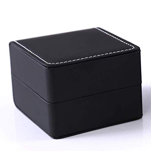 Teensery Single Slot Watch Box PU Leather Wristwatch Display Case Portable Organizer for Men Women Traveling Gift Bracelet Watch Jewelry Box,Black ()