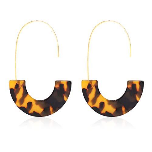 (MOLOCH Acrylic Earrings Statement Tortoise Hoop Earrings Resin Wire Drop Dangle Earrings Fashion Jewelry for Women (Tortoiseshell))