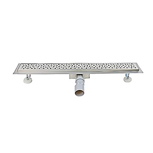 Tropfen 50 cm Stainless Steel Shower Drain Channel with Odour Stop and Hair Strainer Tileable Floor Drain Multi Pattern Selection