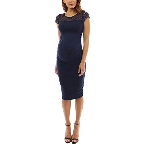 Maternity Dress for Baby Shower, Women's Lace Cap Sleeve Crew Neck Knee Length Bodycon Dress (L, Navy)