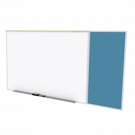 Ghent SPC410C-V-191 4 ft. x 10 ft. Style C Combination Unit - Porcelain Magnetic Whiteboard and Vinyl Fabric Tackboard - Ocean by Ghent