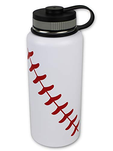 Urbanifi Water Bottle Baseball Softball 32 oz Gift for Mom Men Flask Sports Travel Waterbottle, Stainless Steel, Vacuum Insulated Tumbler, Keeps Water Cold for 24, Hot for 12 Hours (Baseball)