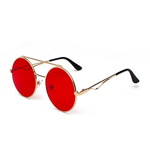 lente Hombres Gafas a delgado Metal Rojo 60 y Inlefen redondas color mm mujeres plana Y Marco zAq1ddw