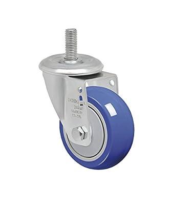 "Schioppa L12 Series, GLEHF 312 TP, 3 x 1-1/4"" Swivel Caster, Non-Marking Thermoplastic Compound Wheel, 150 lbs, 12 mm Diameter x 40 mm Length Threaded Stem"