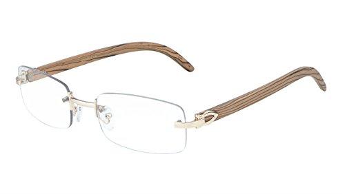 Dapper Rimless Rectangular Metal & Wood Eyeglasses / Clear Lens Sunglasses - Frames (Rose Gold & Light Brown Wood, ()