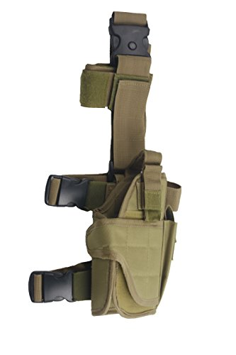 Tactical Leg Holster - Adjustable Pistol Hand Gun Drop Leg Thigh Holster Harness W/ Magazine Pouch Right Handed Bundled With Skull Face Tube Mask(Tan Right Leg Holster)