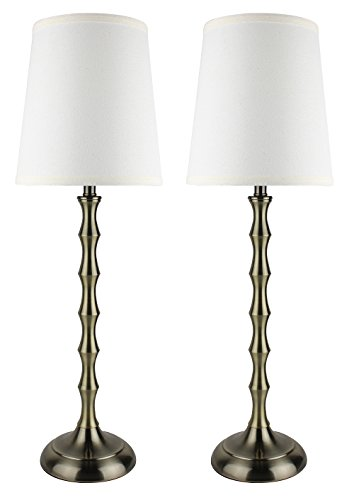 Urbanest Set of 2 Antique Brass Bahama Bamboo Buffet Lamps with Cream Lamp - Table Antique Brass Candlestick Lamp