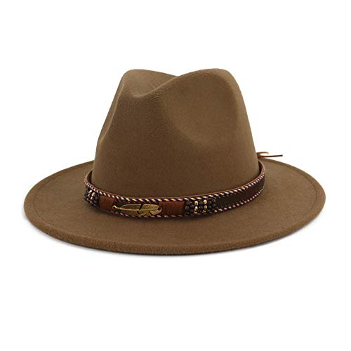 Vim Tree Men Women Ethnic Felt Fedora Hat Wide Brim Panama Hats with Band Khaki M (Head Circumference 22