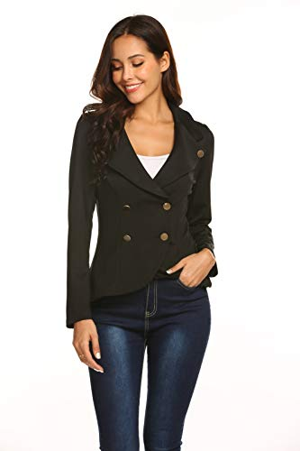 ELESOL Women's Long Sleeve Open Front Asymmetrical Hem Casual Blazer Jacket Black/XL