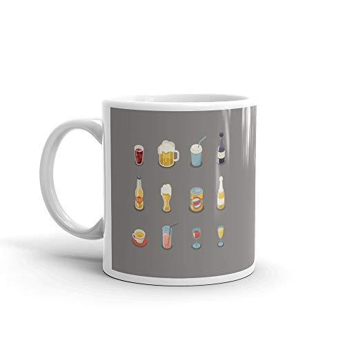 (Isometric Retro Flat Alcohol Beer Juice Tea Wine Drink Icons And Symbols Set Favorite Mug 11 Oz Ceramic)