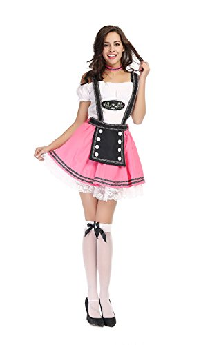 [Bulacker Pink Beer Girl Role Play Costume Set,Pink&White,One size] (Cute Easy Group Costumes Ideas)