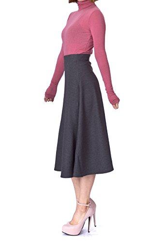 (Elastic Waist A-line Flared Long Skirt (S, Charcoal))