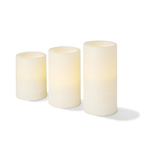 Wax Flameless Pillar Candles with Remote, 4'',5'',6'' Height, Warm White LEDs, Ivory Smooth Candle with Textured Base, Batteries Included - Set of 3 by LampLust