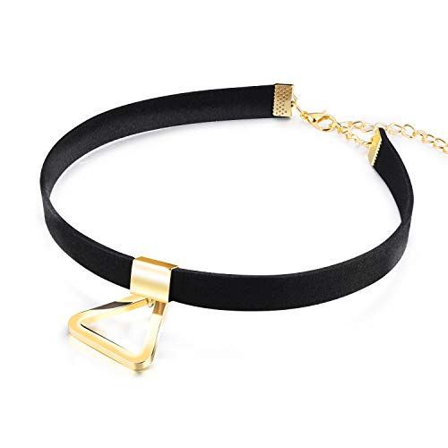 LQinuan Gold Triangle Pendants Black Flannel Choker Necklaces Jewelry for Women Girls Gifts Presents