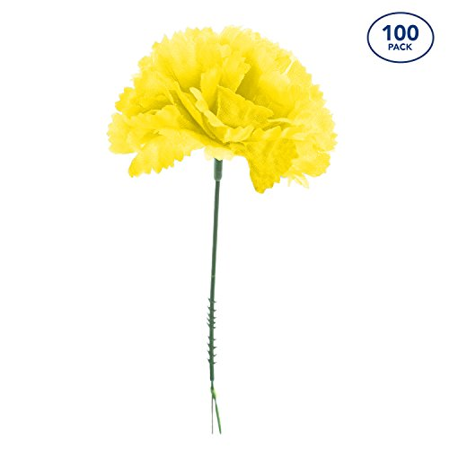 Royal Imports 100 Yellow Silk Carnations, Artificial Fake Flower Bouquets, Weddings, Cemetery, Crafts & Wreaths, 5'' Stem Pick (Bulk) by Royal Imports