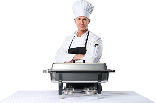 Tiger Chef 8 Quart Full Size Stainless Steel Chafer with Folding Frame and 2 Half Size Chafing Dishes Food Pans and Cool-Touch Plastic Handle on Top by Tiger Chef (Image #5)