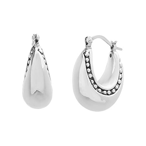 WILLOWBIRD Polished Puffy U-Shaped Beaded Rim Hoop Earrings for Women in Oxidized 925 Sterling Silver