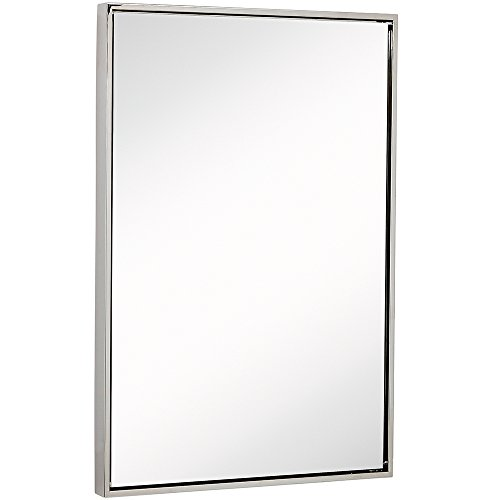 "Clean Large Modern Polished Nickel Frame Wall Mirror | Contemporary Premium Silver Backed Floating Glass | Vanity, Bedroom or Bathroom | Mirrored Rectangle Hangs Horizontal or Vertical (24"" x 36"")"