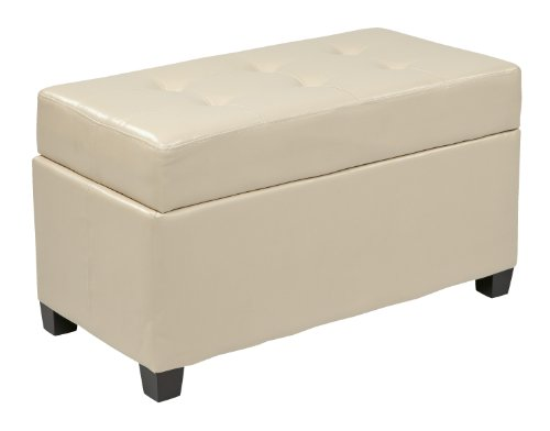 Office Star Metro Faux Leather Storage Ottoman with Espresso Finish Legs, Cream (And Ottoman Leather Metal)