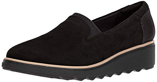 Clarks Women's Sharon Dolly Loafer, Black Suede, 8 M US