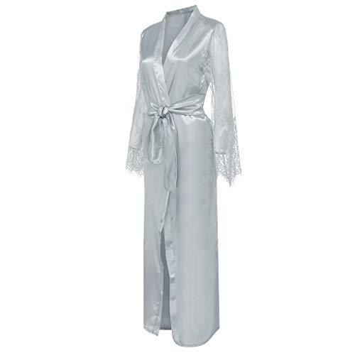 - Alalaso Women Satin Long Nightdress Silk Lace Lingerie Nightgown Sleepwear Sexy Robe Gray