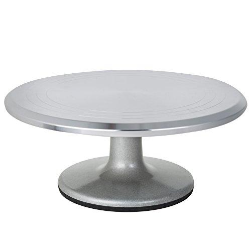MyGift 12-Inch Rotating Aluminum Round Cake Display Stand Pedestal