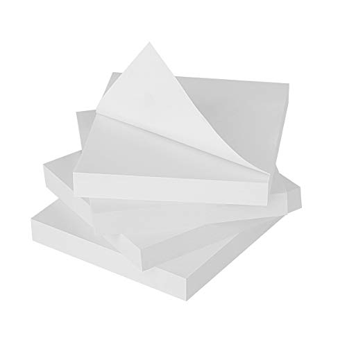 ZCZN White Sticky Notes,3 x 3 in,100 Sheets/Pad,4 Pads/Pack