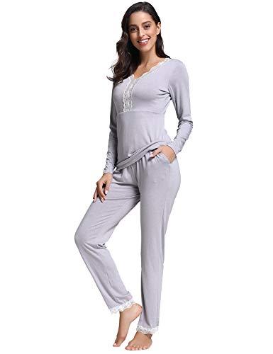 Manche Nuit Hiver Coton Saisons Aibrou dentlle Les Chaud De Pyjama Gris Pour Femmes Toutes Vêtements Longue HfwqW8IUq
