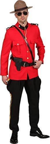 Mens Canadian Mountie National Dress Emergency Services Police Uniform Fancy Dress Costume Outfit