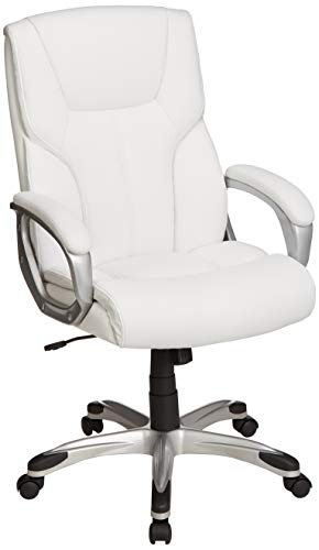 AmazonBasics High-Back Executive Swivel Office Desk Chair – White with Pewter Finish, BIFMA Certified