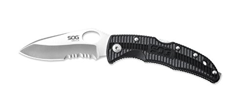 SOG Specialty Knives & Tools SP01-CP Sogzilla Knife with Serrated Edge Folding 3.25-Inch Steel Clip Point Blade and GRN Handle, Satin (Folding Clip Point Serrated Edge)